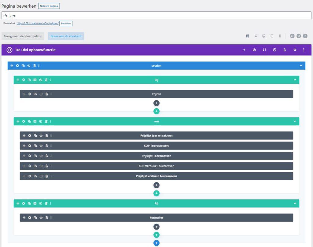 Divi, edit pagina divi pixel prijslijst module